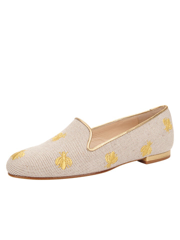 Womens Natural Linen W-Gold Fly Flat