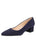Womens Navy Suede Low Block Heel