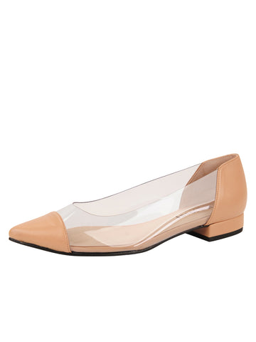 Womens Nude Leather Rule Pointed Toe Vinyl Flat