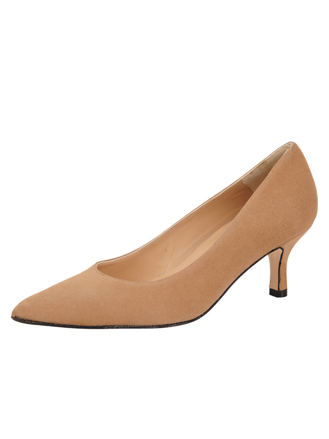 Womens Nude Suede Chance Mid Heel Pump