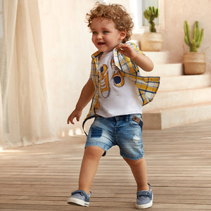 Mayoral Check Short Sleeve Shirt for Baby Boy