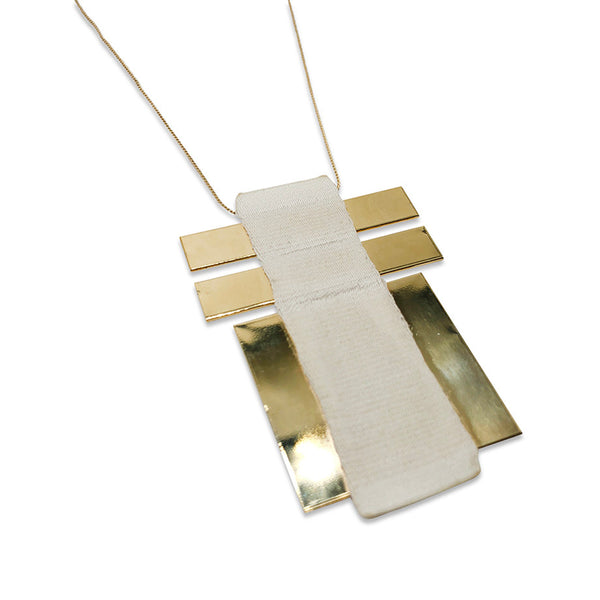 Gold and Beige Plate Necklace