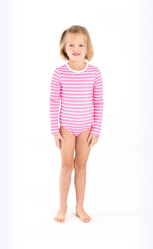 Cover Kids Long-Sleeved Swimsuit - Neon Pink Stripes