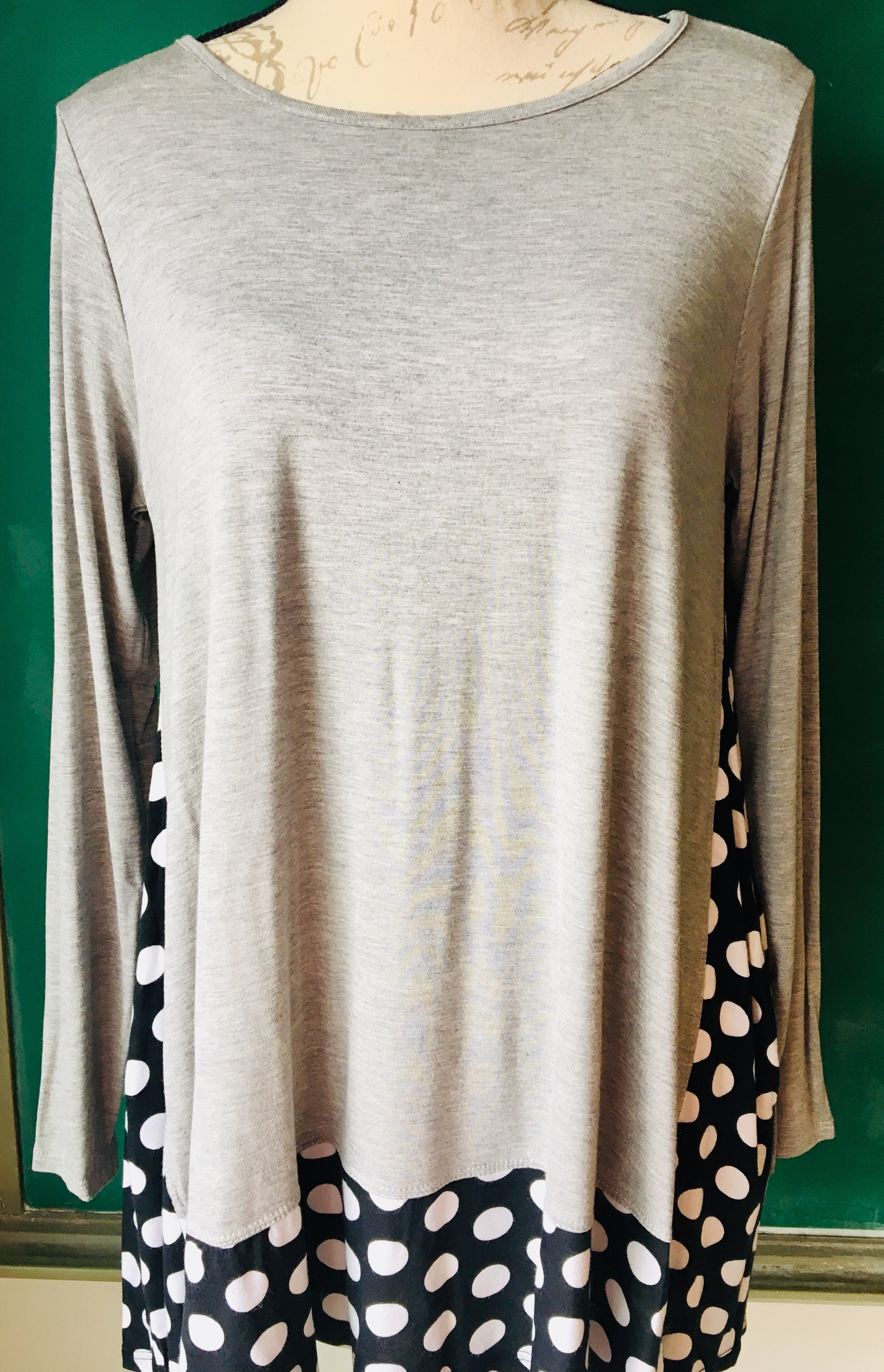 Polka Dotted Gray & Black Tunic WITH POCKETS!