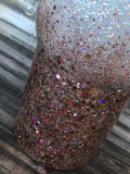 Champagne Rose Gold chunky Ombre Glitter Tumbler