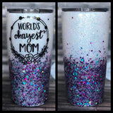 Worlds Okayest Mom Chunky Glitter Coated Tumbler