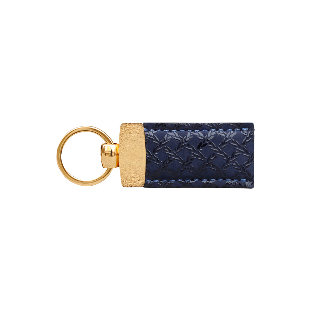 Gian Blue Nubuck Caged Print Key Fob