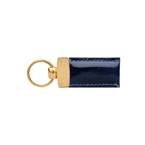 Gian Blue Storm Patent Leather Key Fob