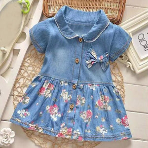 Denim Floral Bow Dress