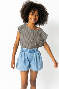 PLEATED DENIM SHORTS