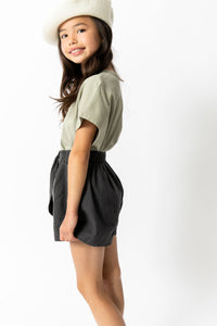 CHARCOAL BOW SHORTS