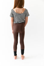 BROWN COLOR BLOCK LEGGINGS