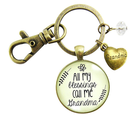 Grandma Keychain All My Blessings Call Me Jewelry For Women Grandmother Gift Quote Blessed Life Heart Charm