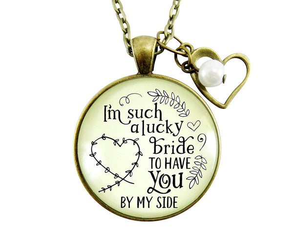 "36"" Bridesmaid Necklace I'm A Lucky Bride Rustic Wedding Jewelry Gift Bachelorette Party Heart Charm Keepsake Card"