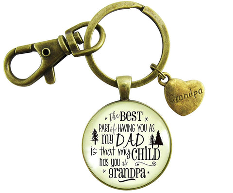 Grandpa Keychain To Dad My Child Has You Grandfather Gift From Grandchild Daughter Son Mens Key Ring