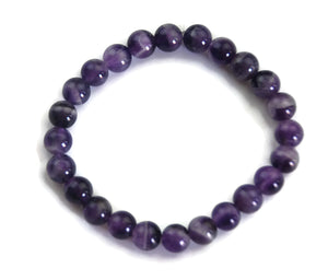 Lotus Line Amethyst Stone Meditation Yoga Wrist Mala Stretch Bracelet, Crown Chakra
