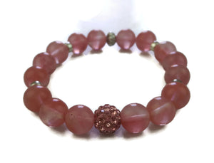 10mm Strawberry Crystal Stone Silver Lotus Shamballa Bead Wrist Mala Stretch Bracelet Heart Chakra