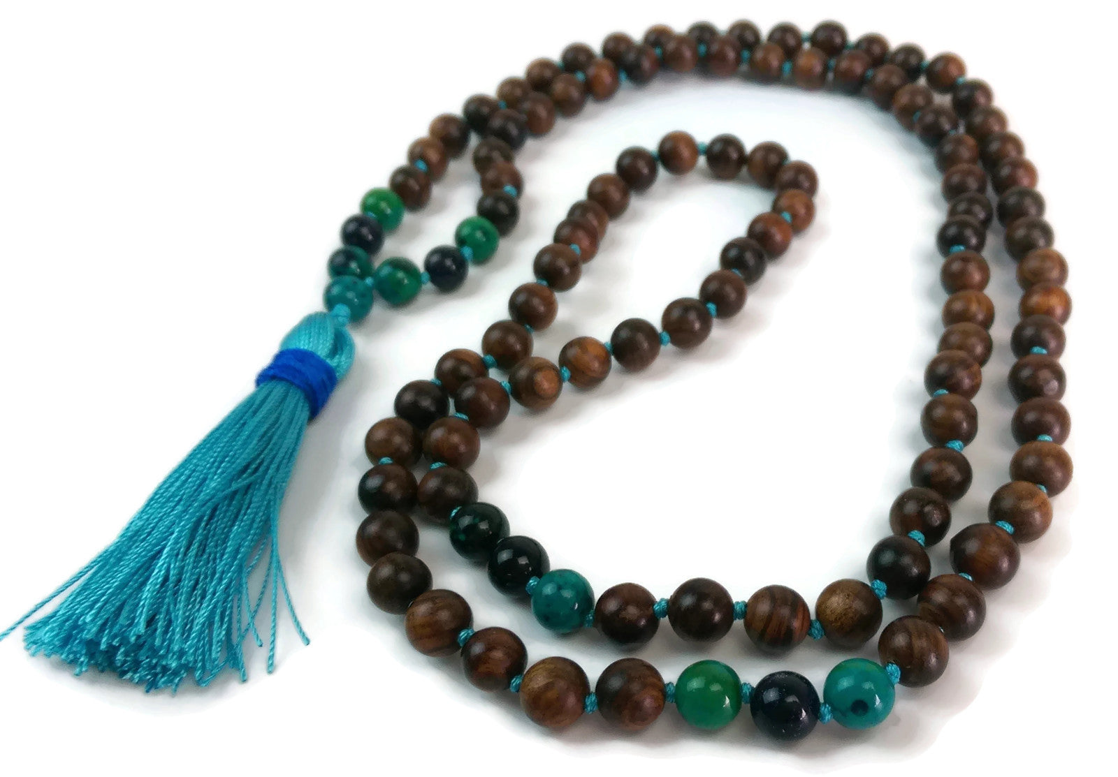 Balance Collection Sandalwood, Phoenix Stone and Sandstone Traditional Knotted 108 Meditation Mala Necklace with Blue Tassel