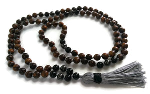 Balance Collection Sandalwood, obsidian and hematite Traditional Knotted 108 Meditation Mala Necklace with Grey Tassel Yoga Jewelry
