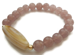 8mm Strawberry Crystal and Tibetan Medicine Dzi with 24k Gold Stretch Yoga Wrist Mala Bracelet
