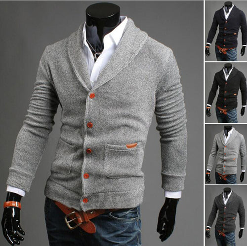 Casual Long Sleeves Cardigan Knitting Sweaters for Men
