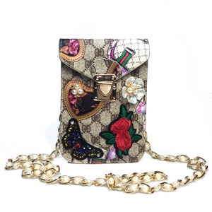Women Printed Butterfly Embroidered Bag With Diamond Pearl Chain Leather Evening Bag