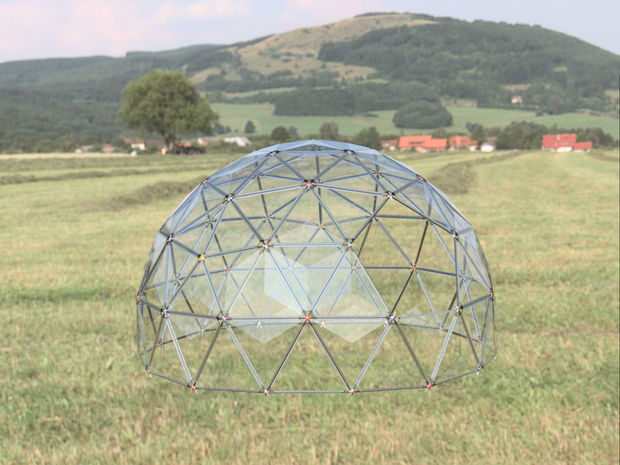 Geodesic Dome Temporary/Permanent  Shelter (520 Lbs) 5.3 Meter Round X 3 Meter Tall Carbon Fiber Shelter.  PN: 708744109217 - Overnight Composites