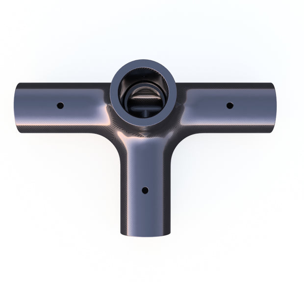 20mm Round 90º 4 - Way Corner Vertical Composite Connector (58.0 Grams) - PN 708744108623 - Overnight Composites