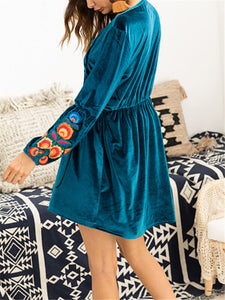 Embroidered Puff Sleeve Mini Dress
