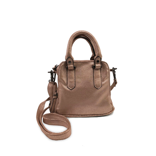 Mini Logan Shimmer Satchel Rosegold