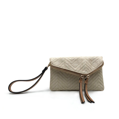 Chevron Natural Mini Envelope Flap Straw Crossbody