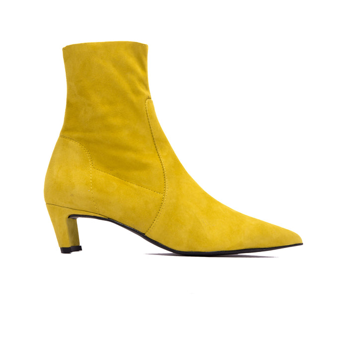 Paola Mustard Suede Ankle Boots
