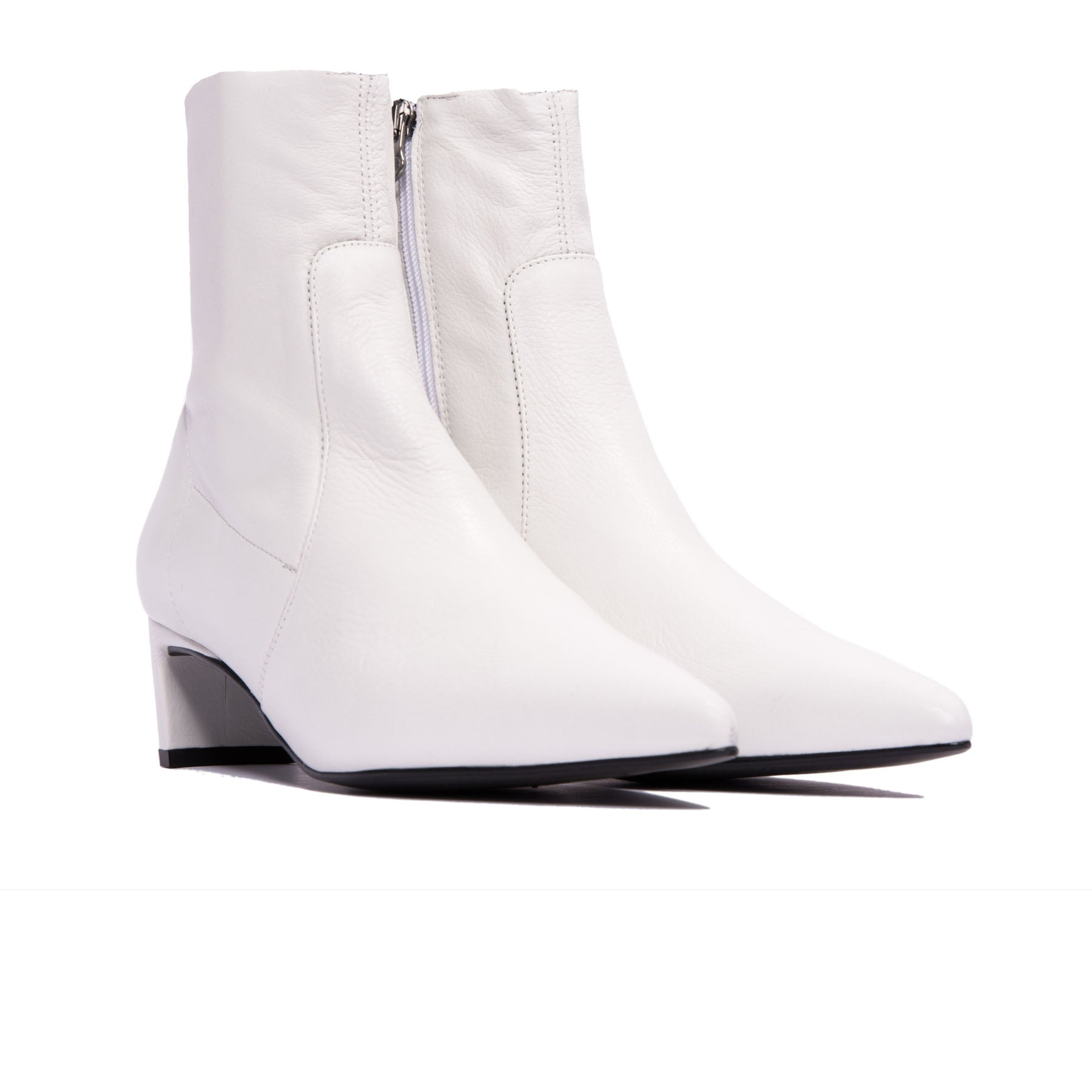 Paola White Leather Ankle Boots