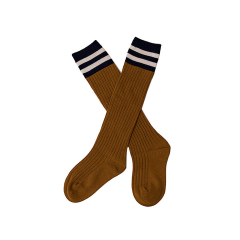 Over Knee Socks Mustard With Navy