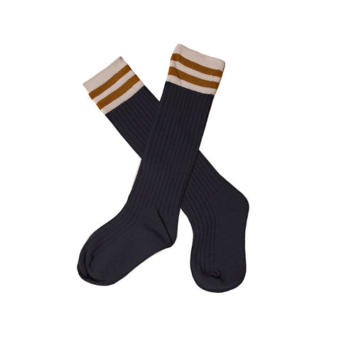 Over Knee Socks Navy With Mustard Yellow