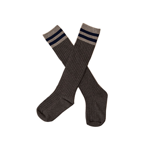 Over Knee Socks Grey with Navy