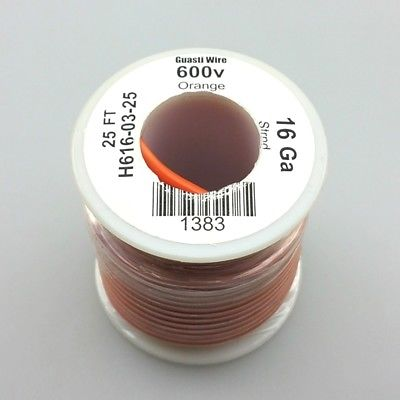 25' Roll 16AWG ORANGE Stranded Appliance Grade 600 Volt Hook-Up Wire UL1015 105C - MarVac Electronics