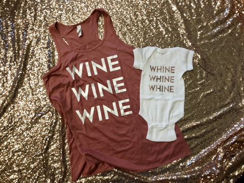 Wine-Whine Rose Gold Mama & Baby Set
