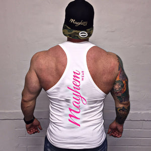 White Stringer With Pink Logo