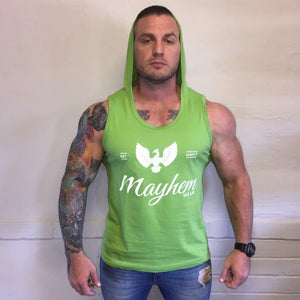 Green Hoody Vest With White Logo