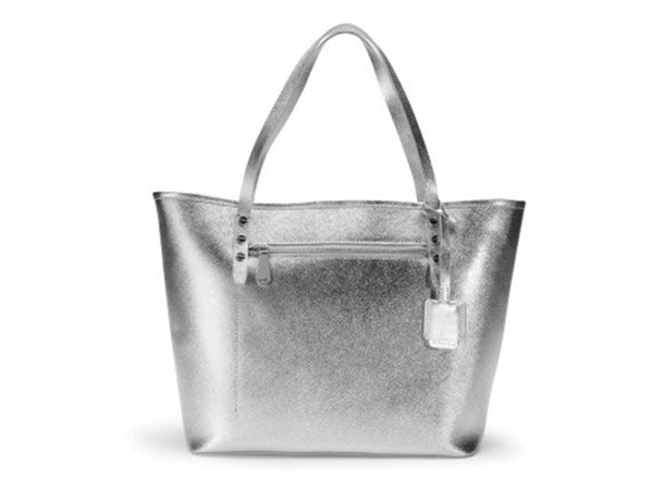 Kenneth Cole Dover Street Metallic Leather Tote - Silver