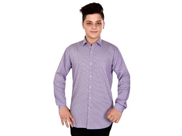 Dry Leaf Purple Dobby Check Men's Cotton Shirt