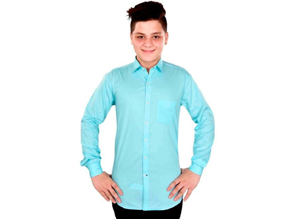 Dry Leaf Teal Blue Twill Men's Cotton Shirt