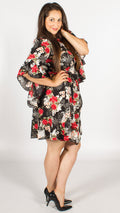 Louisa Floral Skater Dress with Frill Sleeves