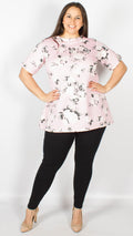 CurveWow Pink Floral Short Sleeve Swing Top
