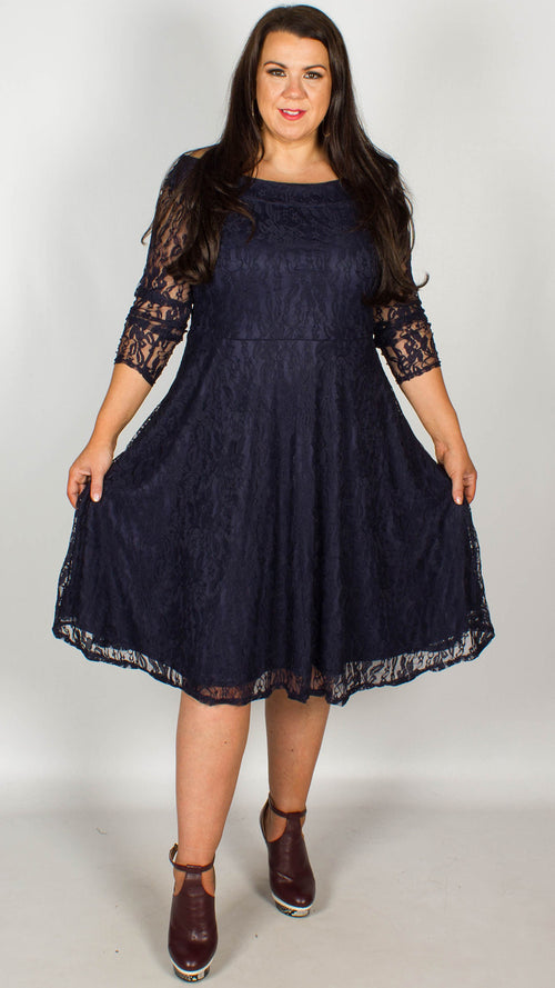 Una Off The Shoulder Lace Swing Dress Navy