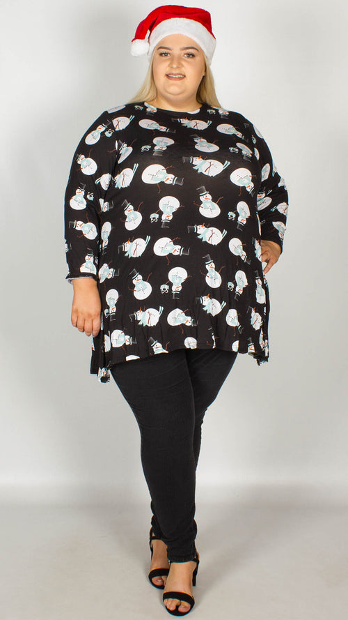 Snowman Print Christmas Swing Tunic Black