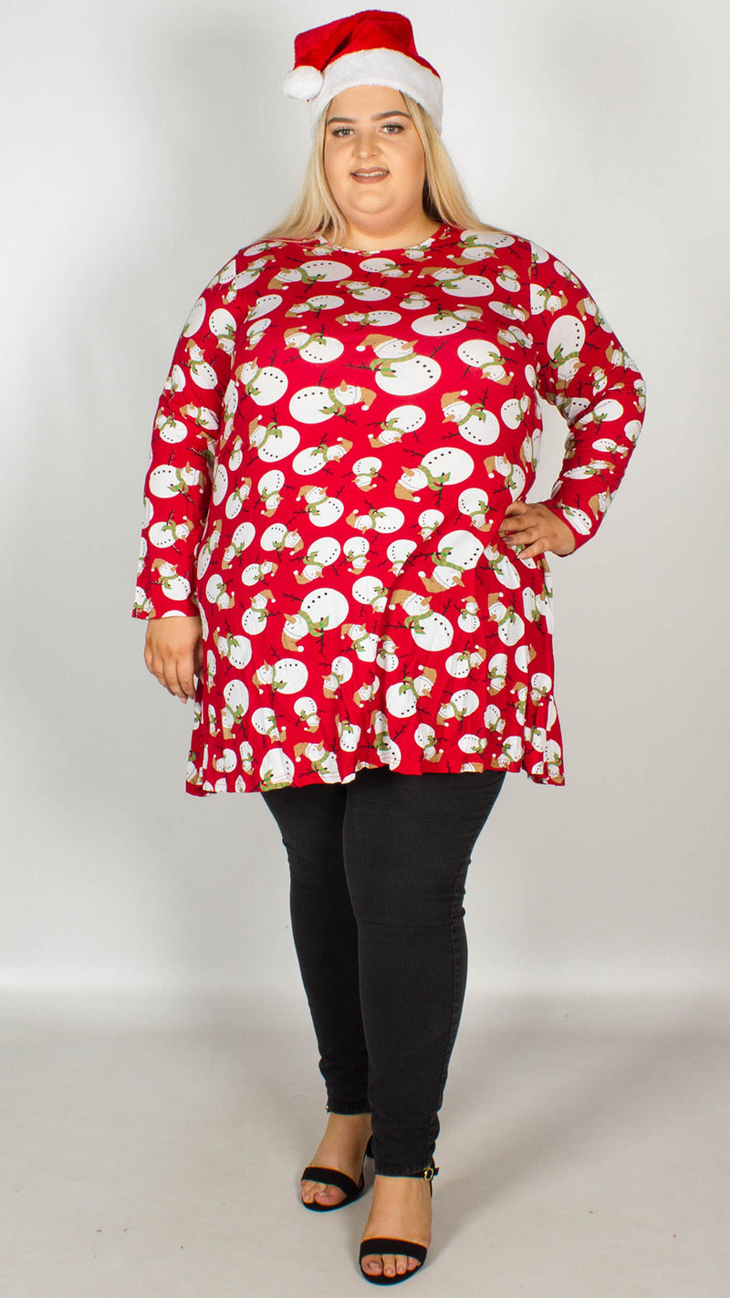 Snowman Print Christmas Swing Tunic Red