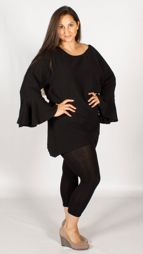 Regina Black Bell Sleeve Tunic Top