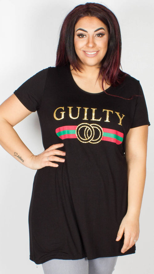Gemma Guilty Slogan T-Shirt Black